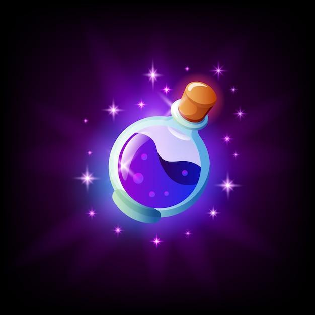 Flasche zaubertrank-symbol für grafische benutzeroberfläche, dunkler hintergrund. fläschchen mit elixir mobile app oder pc-spielelement. illustration im cartoon-stil