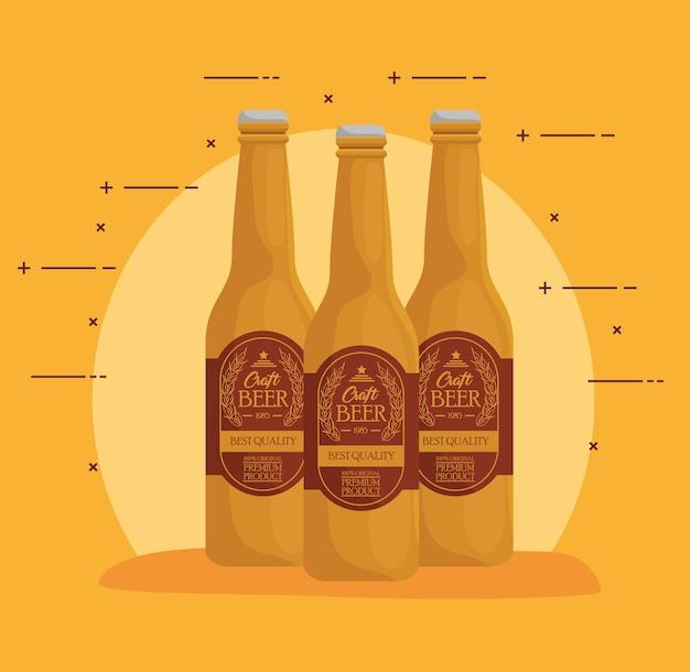 Flaschen bier handwerk von bester qualität vektor-illustration design