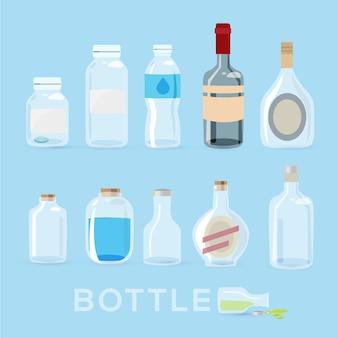 Flaschen eingestellt.