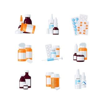 Flaschen mit drogen und pillen in blasen in flachem stil