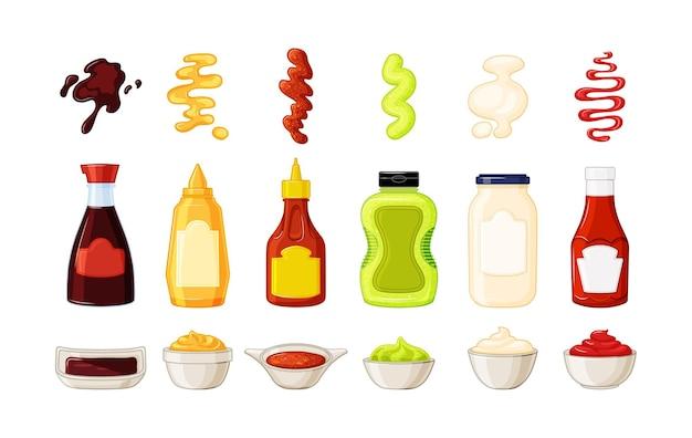 Flaschen mit soßen, untertassen und soßenspritzern auf weißem hintergrund. ketchup, sojasauce, senf, mayonnaise-kollektion. vektor-illustration.