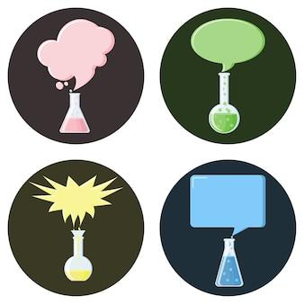 Flaschen mit sprechblasen satz von icons