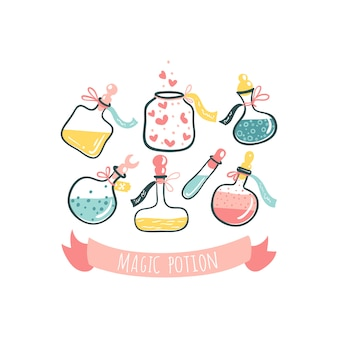 Flaschen mit zaubertränken. gift und liebestrank. handgezeichnete illustration der karikatur im niedlichen skandinavischen stil. pastellfarben isoliert