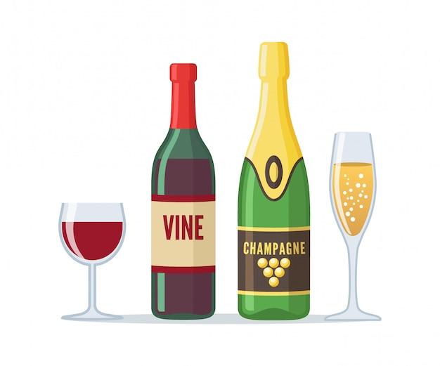 Flaschen rotwein und champagner im flachen stil.