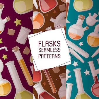 Flaschen set nahtlose muster. verschiedene laborglaswaren und flüssigkeit für analyse, reagenzgläser mit flüssigkeiten