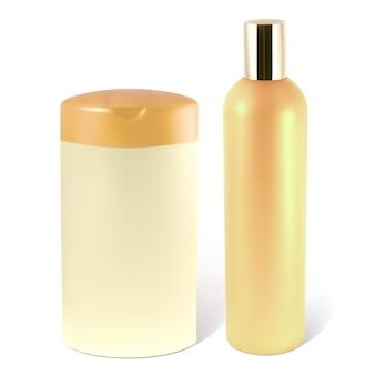 Flaschen shampoo oder lotion. die abbildung enthält ein verlaufsnetz.