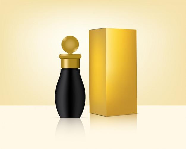 Flaschen-spott herauf realistische goldkosmetik und kasten für hautpflege-produkt-hintergrund-illustration. gesundheitswesen und medizinische konzeption.