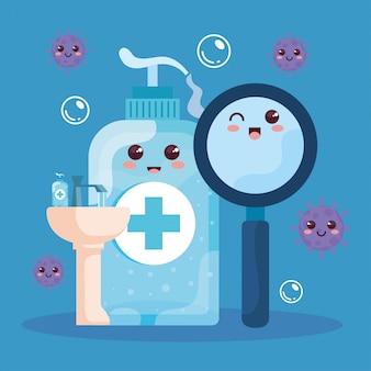 Flaschendesinfektion, niedliche lupe und handwaschbad im kawaii-stil
