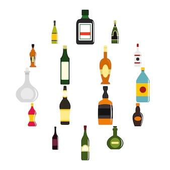 Flaschenformikonen eingestellt in flachen stil