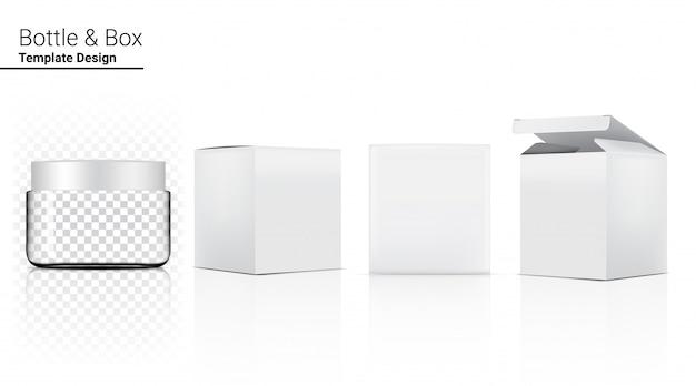 Flaschenglas transparente realistische kosmetik und box für hautpflegeprodukt oder medizin auf weißer hintergrundillustration. gesundheitswesen und medizinische konzeption.