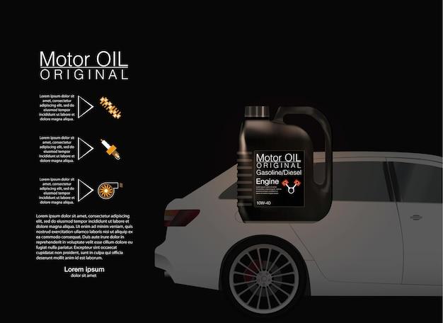 Flaschenmotorölhintergrund, vor dem hintergrund des autos. vektor-illustration