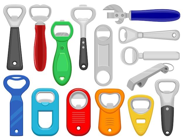 Flaschenöffner vektor-cartoon-icon-set. sammlungsvektorillustrationswerkzeug für geöffnet auf weißem hintergrund. isolierte karikaturillustrationsikonensatz des flaschenöffners für webdesign.