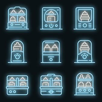 Flaschensterilisator-icons gesetzt. umrisse von flaschensterilisator-vektorsymbolen neonfarbe auf schwarz