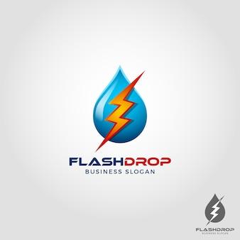 Flash drop - elektrisches wasser logo vorlage