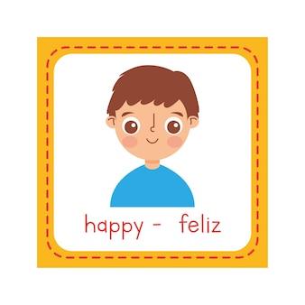 Flash-karte mit glücklichem kind über weißem hintergrund. vektor-illustration