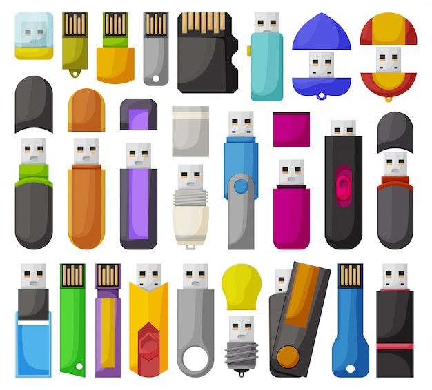 Flash-laufwerke isoliertes cartoon-set-symbol. cartoon set icon usb.