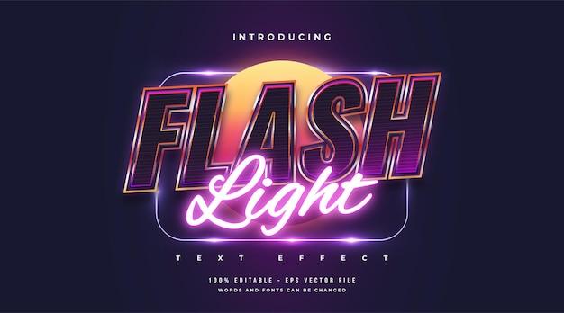 Flash light text style mit buntem und leuchtendem neon-effekt. bearbeitbarer textstileffekt
