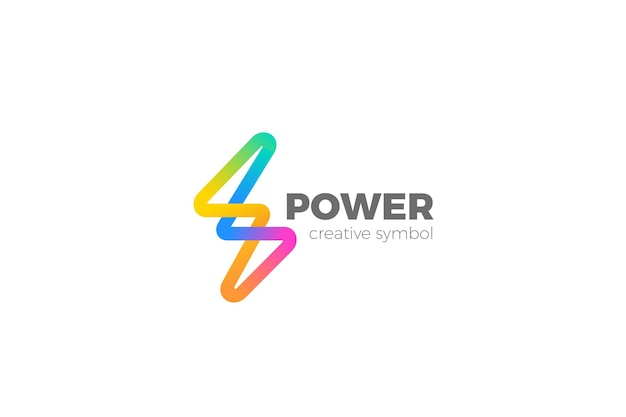 Flash-logo. energy power buntes elektrisches thunderbolt-spannungslogo