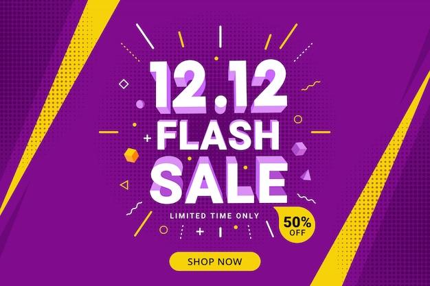 Flash sale banner design mit rabattangebot für promotion