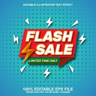 Flash-sale-banner-hintergrund mit bearbeitbarem texteffekt