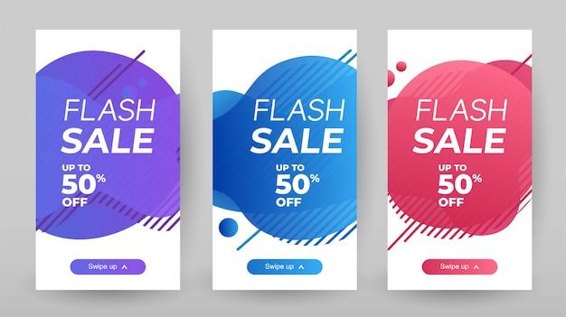 Flash sale banner mit abstrakten flüssigen farbe. verkaufsfahnen-schablonendesign, sonderangebotsatz des grellen verkaufs