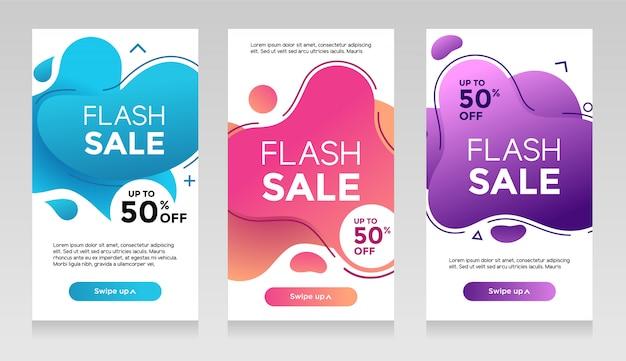 Flash sale banner mit abstrakten flüssigen farbe. verkaufsflieger-schablonendesign, sonderangebotsatz des grellen verkaufs