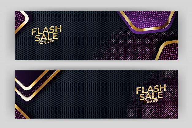Flash sale banner mit goldenem hintergrund stil premium