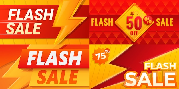 Flash sale banner set, cartoon-stil