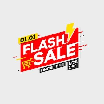 Flash sale banner vorlage sonderangebot mit donner