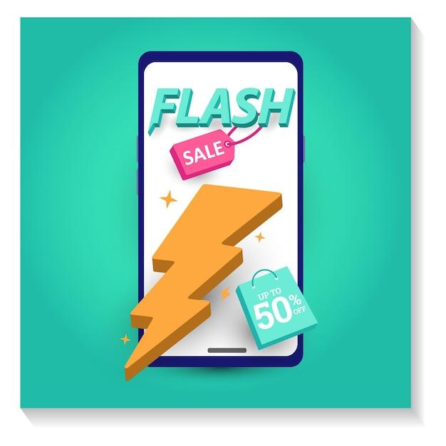Flash sale banner vorlage werbeplakat sonderangebot bis zu 50 rabatt