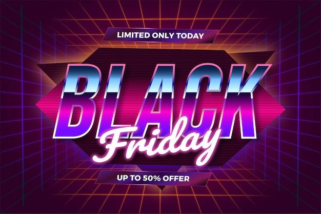 Flash sale black friday mit realistischem neonlichtkonzept des effektthemas retro 80er jahre