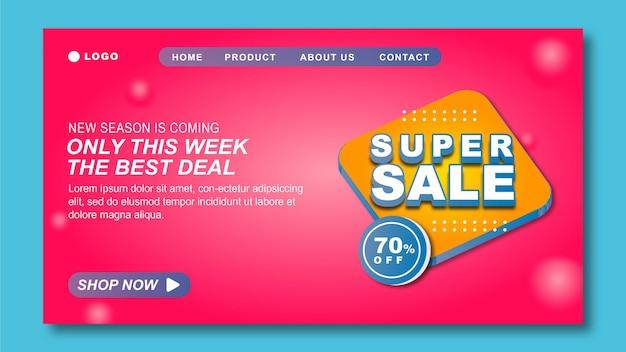 Flash sale landing page vorlage mit rosa backround
