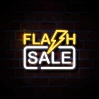 Flash sale neon style zeichen illustration