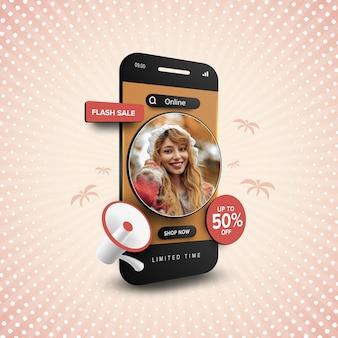 Flash sale online-shopping-promotion mit bearbeitbarem text