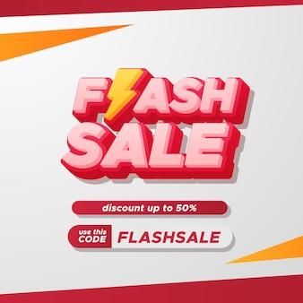 Flash-sale-rabatt-promo-werbung mit 3d-text und gelbem und rotem blitzsymbol