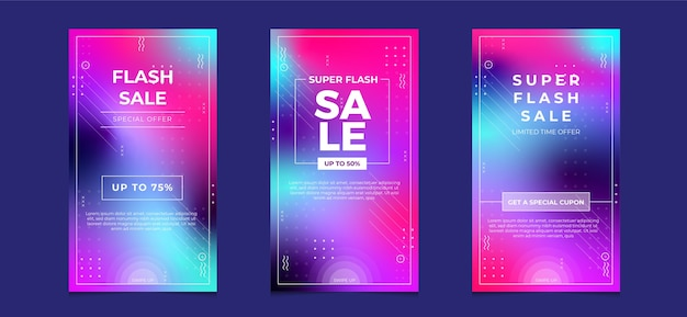 Flash sale social media instagram geschichten banner mit farbverlauf