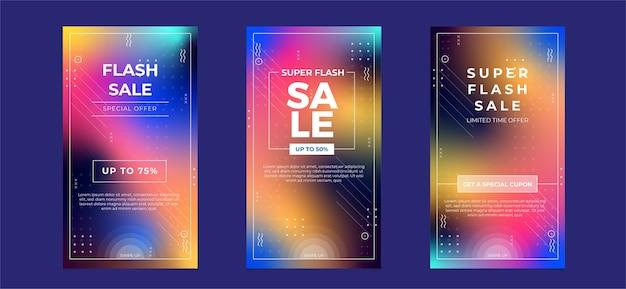 Flash sale social media-sammlung mit unscharfer verlaufsfarbe