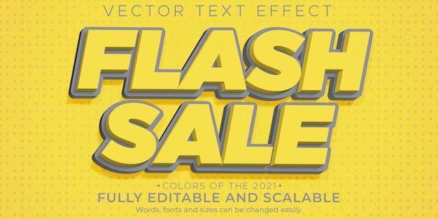 Flash sale texteffekt bearbeitbarer rabatt und bieten textstil