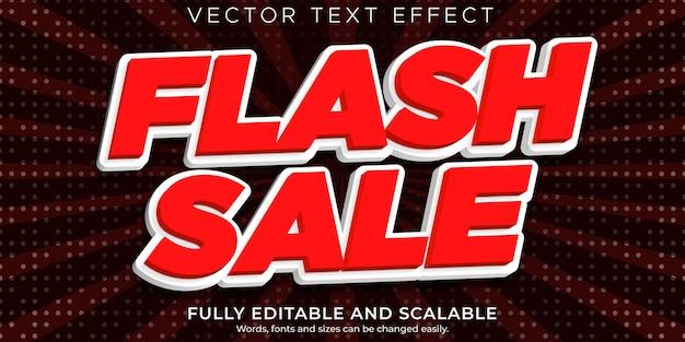 Flash-sale-texteffekt, bearbeitbares einkaufen und angebotstextstil