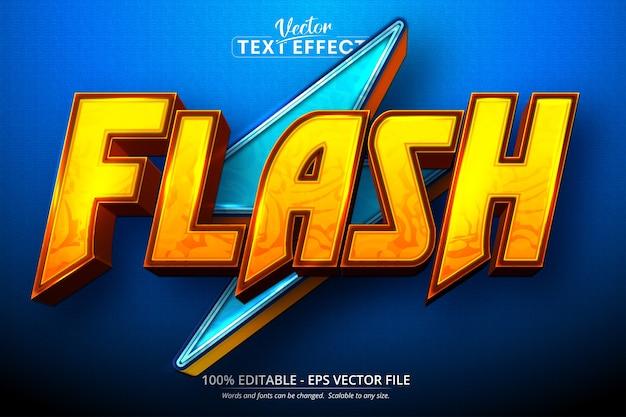Flash-text, bearbeitbarer texteffekt im cartoon-stil