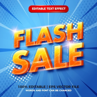 Flash-verkauf 3d-moderner bearbeitbarer texteffekt-vorlagenstil auf blauem halbtonhintergrund