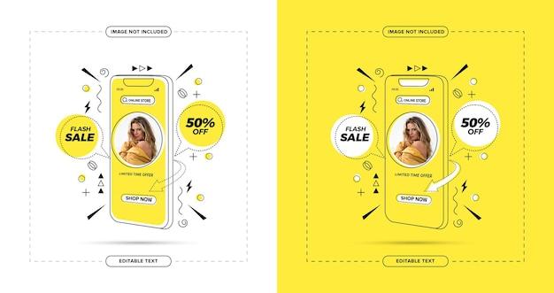 Flash-verkauf online-shopping auf social-media-post mit geometrischem konzept
