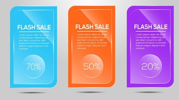 Flash-verkauf-symbol mit glas-effekt