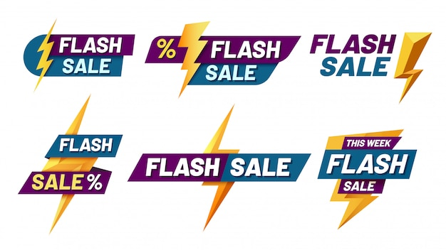 Flash-verkaufsabzeichen. blitzangebot, blinkt verkaufsabzeichen und trendige einkaufsangebote illustrationssatz