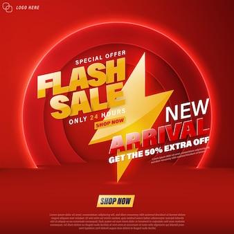 Flash-verkaufsbanner-vorlagendesign für web oder soziale medien.