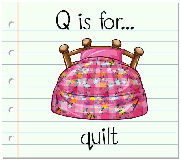 Flashcard-alphabet q ist für quilt