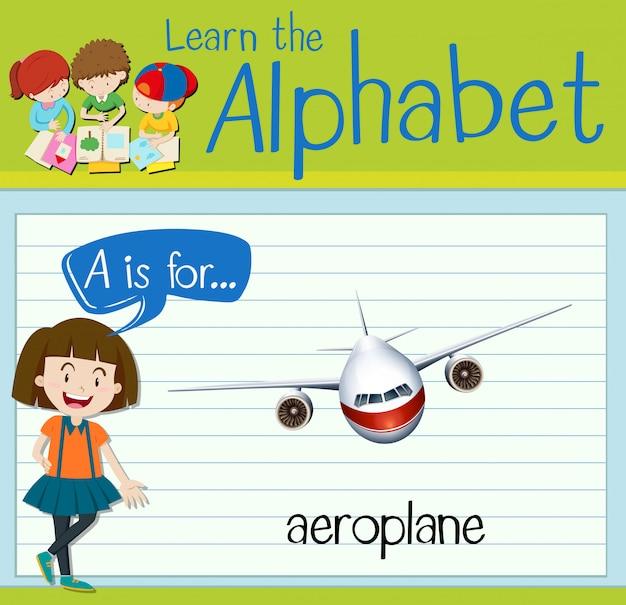 Flashcard buchstabe a ist für flugzeug