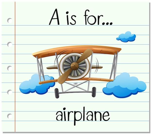 Flashcard-buchstabe a ist für flugzeug