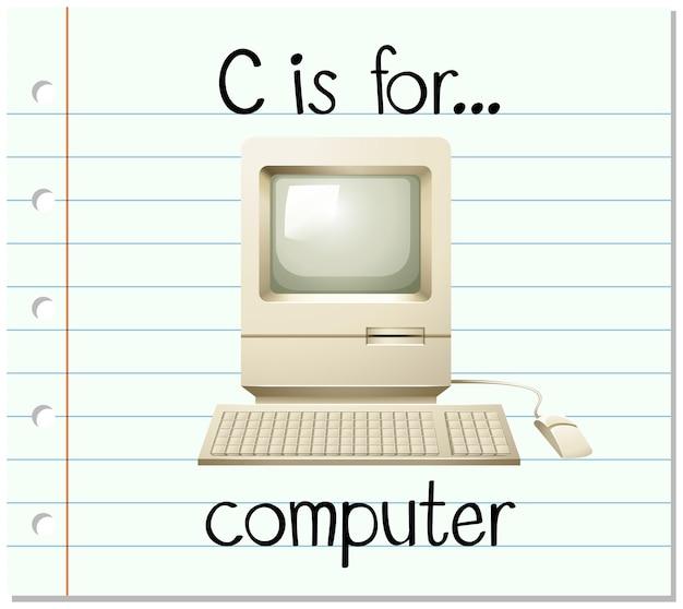 Flashcard-buchstabe c ist für computer