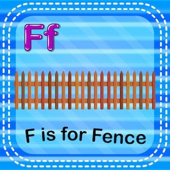 Flashcard-buchstabe f ist für den zaun